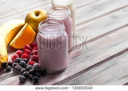 Healthy Yogurts With Mix Of Berries
