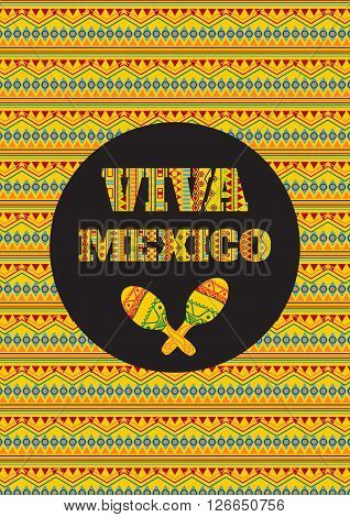 Cinco de mayo. Viva Mexico! Vector greeting card banner or poster with mexican geometric ornamental text and maracas
