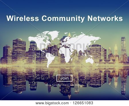 Wireless Community Networks Technology Hotspot Concept