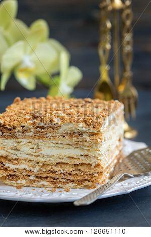 Napoleon Cake Of Puff Pastry.