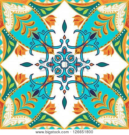 Vector beautiful colored pattern for design and fashion with decorative elements. Floral ethnic bandana. Portuguese tiles Azulejo Talavera Moroccan ornaments in blue and orange colors