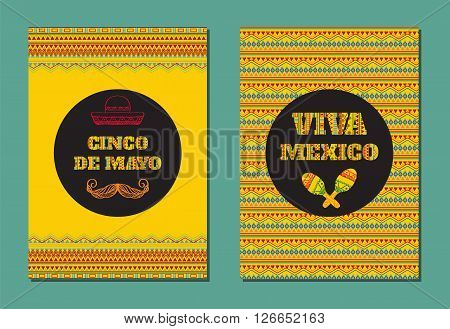 Cinco de mayo. Viva Mexico! Vector set of greeting cards banners or posters with mexican geometric ornamental text