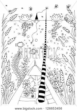 Fish, ornamental graphic fish, floral line pattern. Vector. Zentangle. Coloring book page for adult. Hand drawn artwork. Black white.