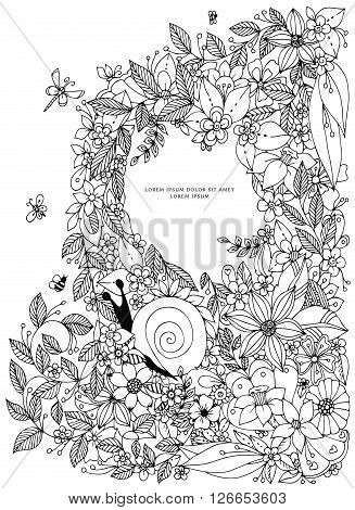 Seashell border frame, ocean pattern. Vector vintage illustration. Zentangle. Coloring book page for adult. Hand drawn artwork. Black white.
