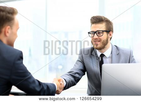 Two businessmen making agreement