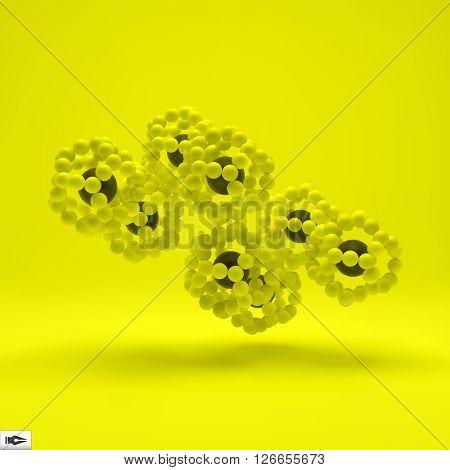 3D Molecule Structure. Futuristic Technology Style. 3D Vector illustration. Connection Structure.