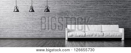Modern interior of living room with white sofa and black lamps against of stone wall panorama 3d rendering