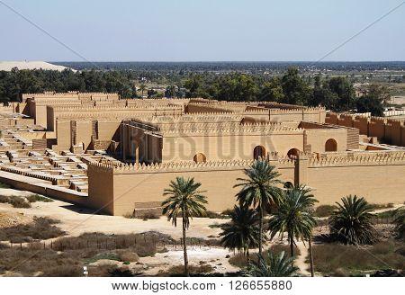 Restored ruins of ancient Babylon in Iraq.