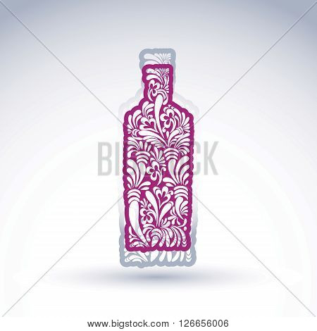 Stylized bottle decorated with ethnic flower pattern. Alcohol idea vector illustration elegant graphic art flowery pitcher.