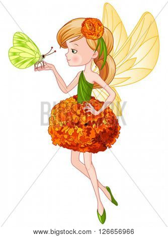 Illustration of flying beautiful cute fairy holds butterfly