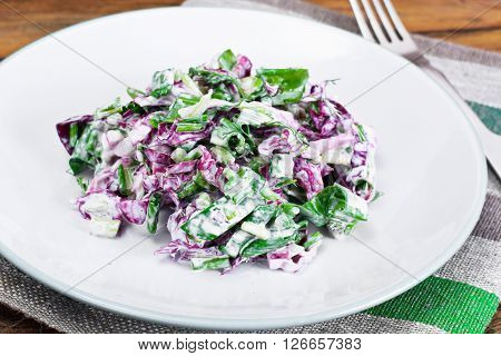 Lettuce, Radicchio and natural low-fat yogurt. Dietary meal Studio PHoto