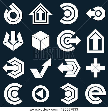 Geometric Monochrome Abstract Vector Shapes. Collection Of Arrows, Navigation Pictograms And Multime