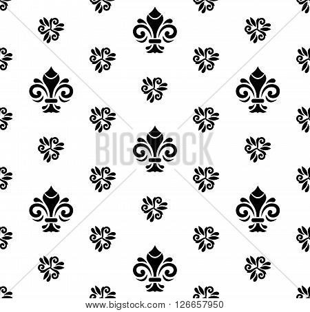 Seamless vector black and white ornament. Modern geometric pattern with royal lilies