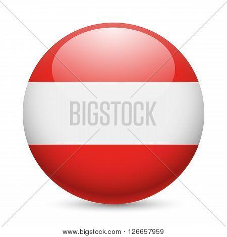 Flag of Austria as round glossy icon. Button with Austrian flag