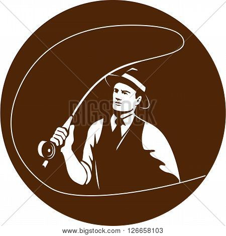 Illustration of a mobster gangster fly fisherman wearing fedora hat fishing casting fly rod set inside circle on isolated background done in retro style.