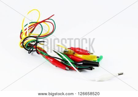 alligator clamp jumper cable on white background