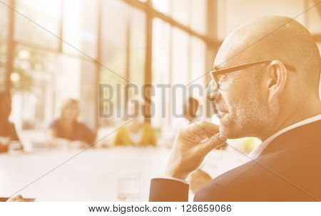 Business Man Thinking Contemplating Meeting Concept