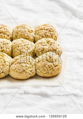 Oat scones on a light background. Delicious healthy food