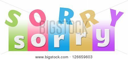 Sorry text alphabets written over colorful background.