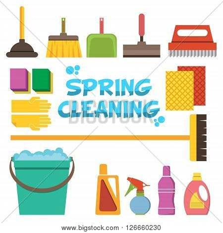 Spring Cleaning flat design illustration. Cleaning icons vector set. Icons of clean service and cleaning tools. Design elements in vector.