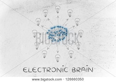 Circuit Brain With Ideas (lightbulbs) Coming Out, Electronic Brain