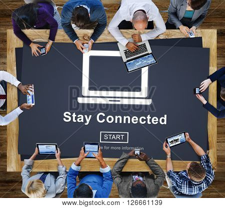 Stay Connected Interact Network Sharing Social Concept