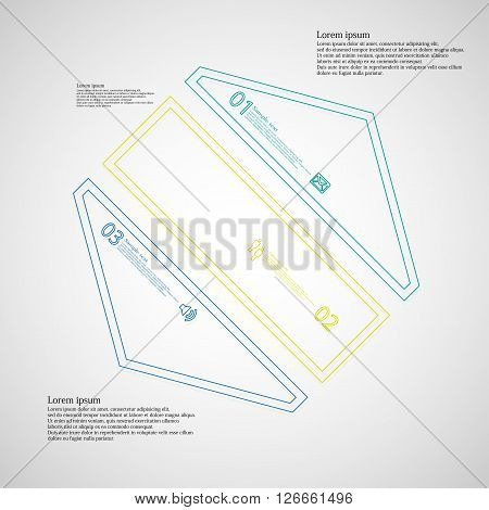 Illustration infographic template with motif of hexagon which is askew divided to three color parts created by double contour outlines. Each item contains number text and simple sign. Background is light.