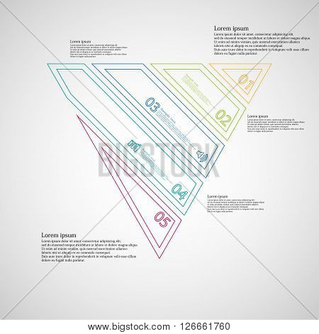 Illustration infographic template with motif of triangle which is askew divided to five color parts created by double contour outlines. Each item contains number text and simple sign. Background is light.