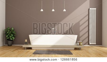 Contemporary bathroom with elegant bathtub and vertical heater on brown wall - 3D Rendering