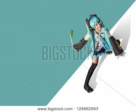 Japan women anime cosplay on abstract  background