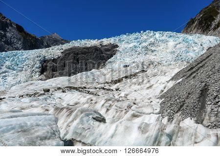 Huge glacier ice on a mountain in New Zealand