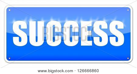 Blue card Success isolated over white background