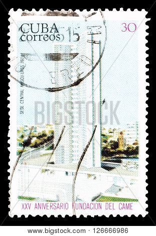 CUBA - CIRCA 1974 : Cancelled postage stamp printed by Cuba, that shows Building.