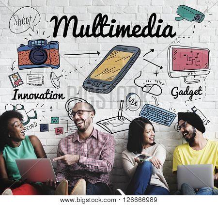 Multimedia Communication Digital Content Concept
