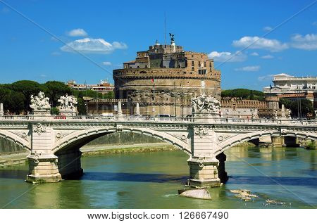 View of castel Sant' Angelo - Rome Italy