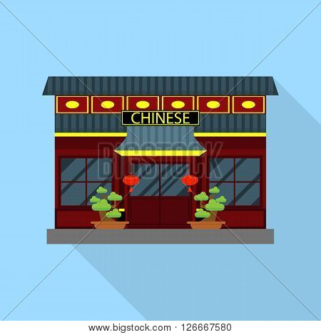 Chinese Restaurant - Cartoon illustration of Chinese restaurant and lanterns in the background