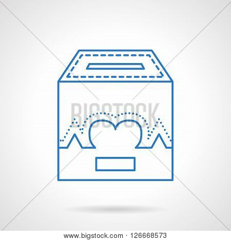 Donation box with life symbol. Heart sign with curve. Fundraising and charity concept. Flat blue line style vector icon. Single design element for website, business.