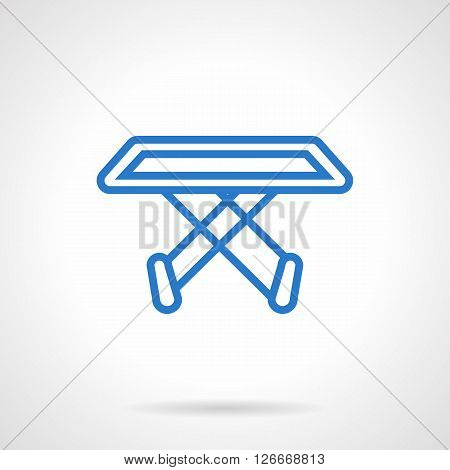 Empty folding clothes dryer rack. Housekeeping, homework. Laundry equipment.  Simple blue line vector icon. Single element for web design, mobile app.