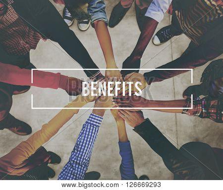 Benefits Advantage Assistance Income Value Concept