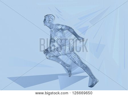 Runner. abstract sprinter running at finish. 10 EPS