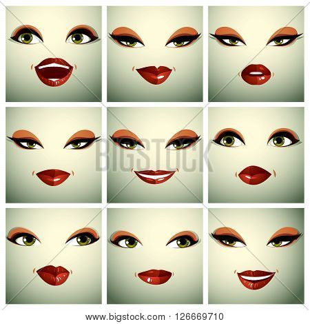 Set Of Vector Beautiful Female Simple Portraits With Stylish Makeup, Green Eyes And Red Lips. Women