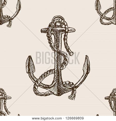 Anchor and rope sketch style seamless pattern vector illustration. Old hand drawn engraving imitation. Anchor and rope.