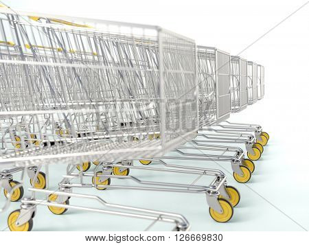 3d rendering. Rows of shopping carts on car park