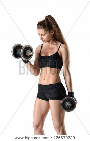 Cutout portrait of muscular young woman lifting a dumbbell for training her biceps. Power training.