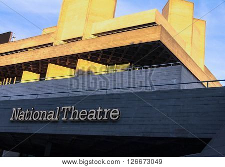 LONDON ENGLAND UK - JUNE 06 2015: The Royal National Theatre iconic masterpiece of the New Brutalism designed by architect Sir Denys Lasdun