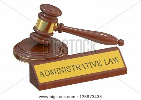 Wooden gavel and handcuffs Administrative law concept. 3D rendering