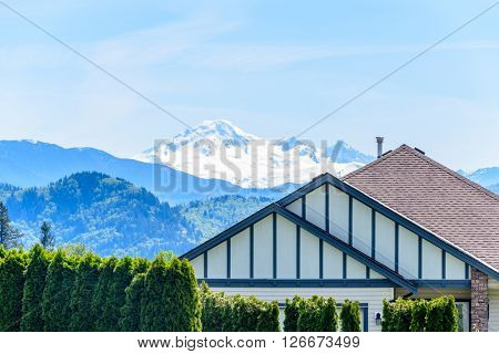 The top of the house with fantastic snow mountain view.
