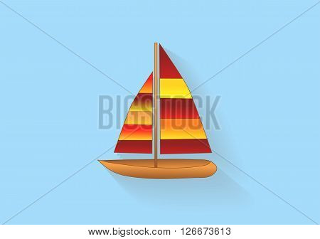 sailboat icon. abstract boad with lond shadows ob blue background
