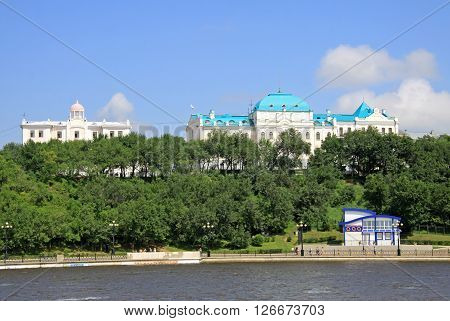 Khabarovsk, Russia - August 16, 2013: Amur River Embankment In Khabarovsk