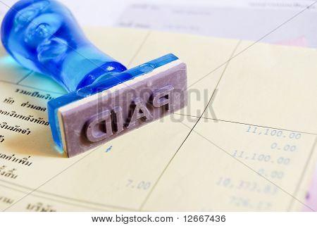 Paid Stamp On Cash Receipt